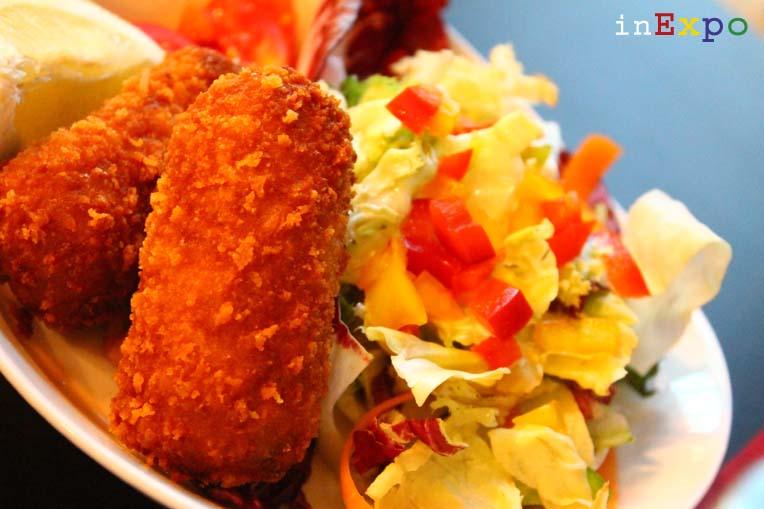 croquette aux crevettes ristorante del Belgio in Expo
