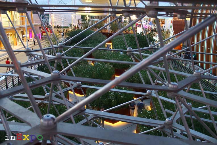 Vista dalla terrazza del ristorante del Regno Unito in Expo