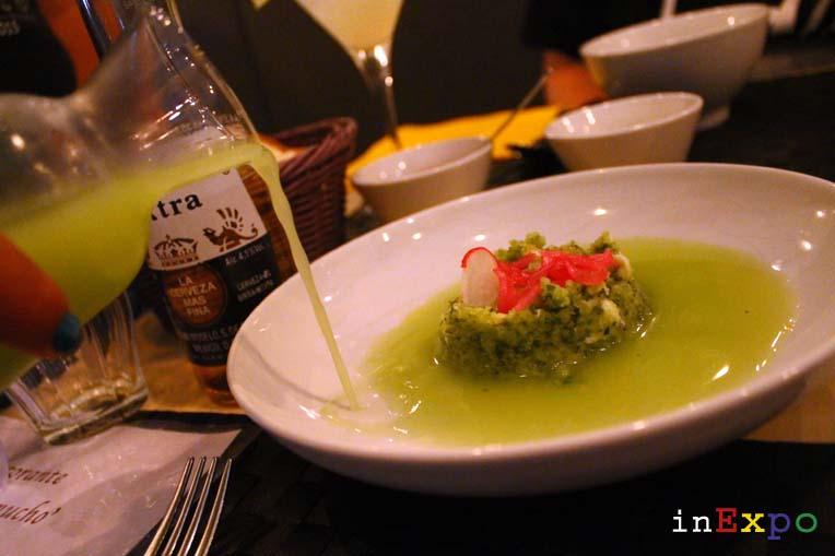 Sopa fría de pepino ristorante messicano Besame Mucho in Expo