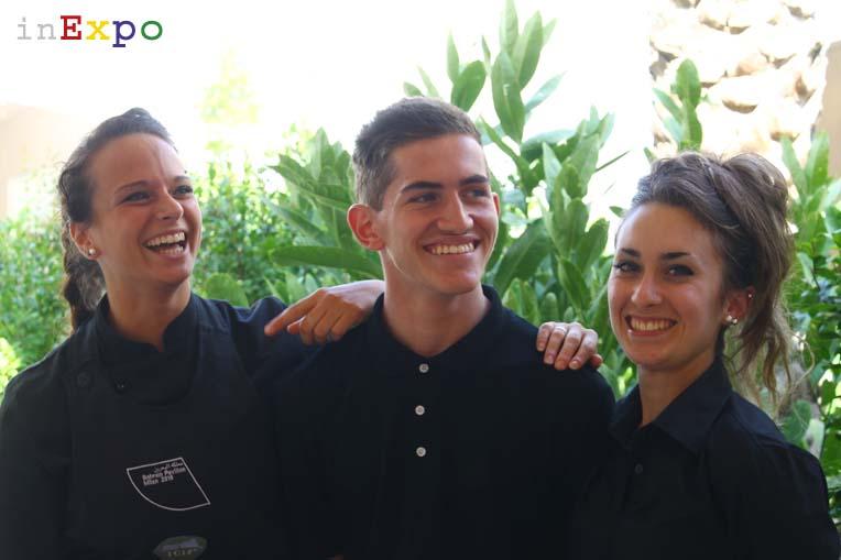 Erinna, Marco e Laura del ristorante del Bahrain in Expo