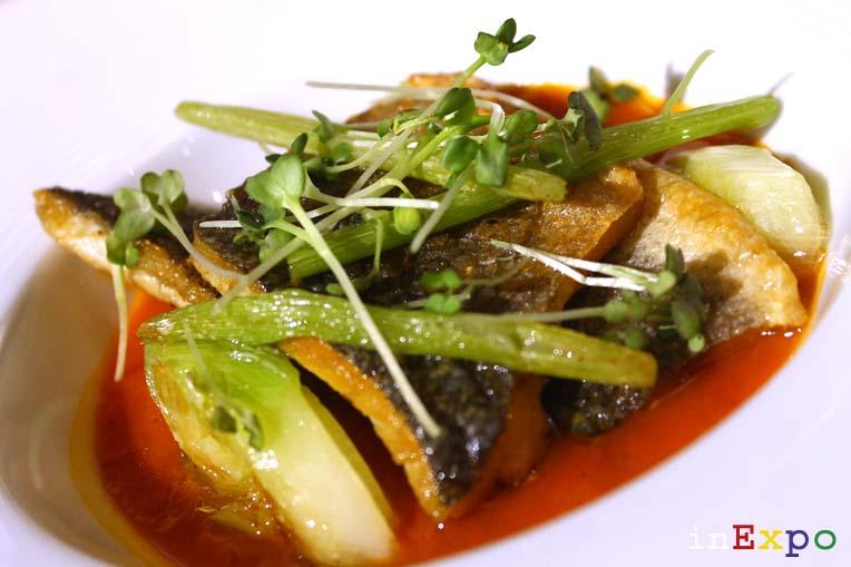 """Pavé de loup, façon """"stockfish"""" Café Fairmont ristorante Monaco in Expo"""
