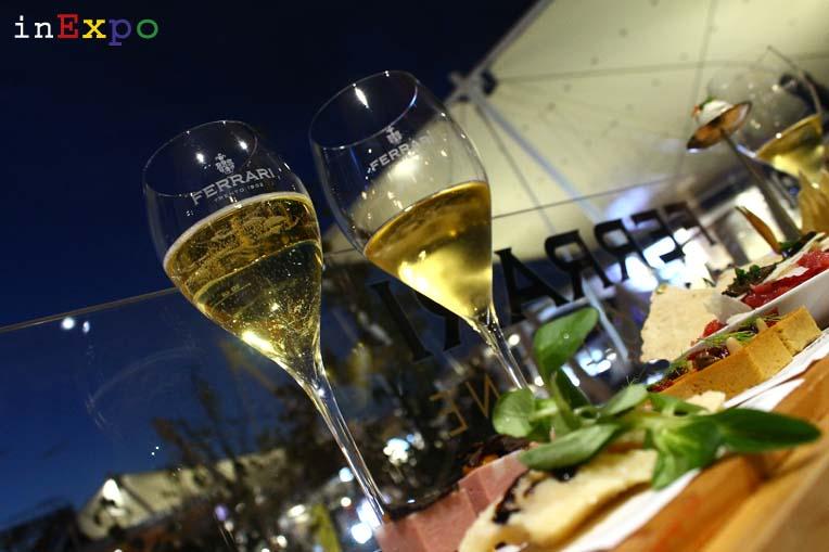 10 aperitivi Expo Riserva Lunelli 2006 e Perlé Nero Terrazza Ferrari Spazio Bollicine